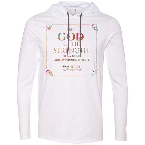 "Bible Verse Men Long Sleeve T-Shirt Hoodie - ""Psalm 73:26"" Design 10 - Meditate Healing Christian Store"