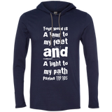 "Bible Verse Men Long Sleeve T-Shirt Hoodie - ""Psalm 119:105"" Design 6 (White Font) - Meditate Healing Christian Store"