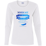 "Bible Verse Ladies' Cotton Long Sleeve T-Shirt - ""Psalm 61:2"" Design 13 - Meditate Healing Christian Store"