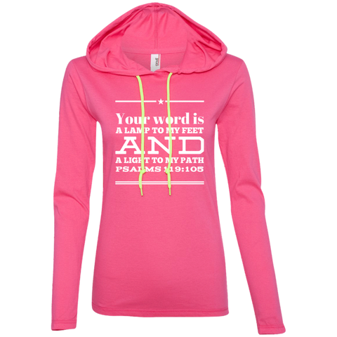 "Bible Verse Ladies' Long Sleeve T-Shirt Hoodie - ""Psalm 119:105"" Design 10 (White Font) - Meditate Healing Christian Store"
