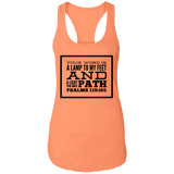 "Bible Verses Ladies Ideal Racerback Tank - ""Psalm 119:105"" Design 13 (Black Font) - Meditate Healing Christian Store"