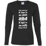 "Bible Verse Ladies' Cotton Long Sleeve T-Shirt - ""Psalm 119:105"" Design 6 (White Font) - Meditate Healing Christian Store"