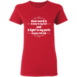 "Bible Verse Ladies' 5.3 oz. T-Shirt - ""Psalm 119:105"" Design 1 (White Font) - Meditate Healing Christian Store"