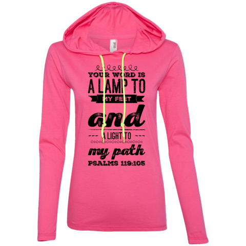 "Bible Verse Ladies' Long Sleeve T-Shirt Hoodie - ""Psalm 119:105"" Design 17 (Black Font) - Meditate Healing Christian Store"