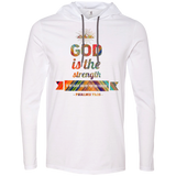 "Bible Verse Men Long Sleeve T-Shirt Hoodie - ""Psalm 73:26"" Design 2 - Meditate Healing Christian Store"