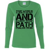 "Bible Verse Ladies' Cotton Long Sleeve T-Shirt - ""Psalm 119:105"" Design 7 (Black Font) - Meditate Healing Christian Store"