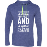 "Bible Verse Men Long Sleeve T-Shirt Hoodie - ""Psalm 119:105"" Design 3 (White Font) - Meditate Healing Christian Store"