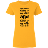 "Bible Verse Ladies' 5.3 oz. T-Shirt - ""Psalm 119:105"" Design 6 (Black Font) - Meditate Healing Christian Store"