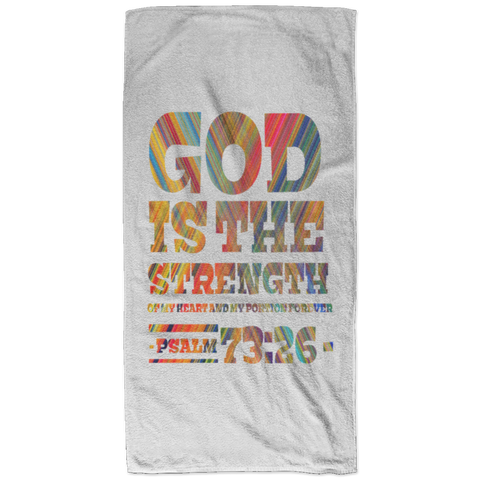 Bible Verses Bath Towel 32x64 - Psalm 73:26 (Design 3) - Meditate Healing Christian Store
