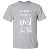 "Bible Verse Men 5.3 oz. T-Shirt - ""Psalm 119:105"" Design 9 (White Font) - Meditate Healing Christian Store"