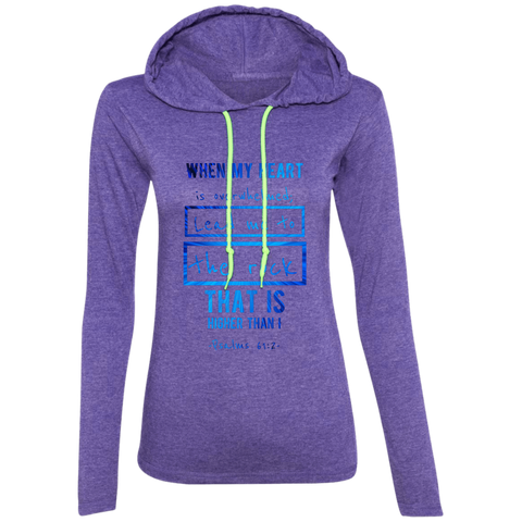 "Bible Verse Ladies' Long Sleeve T-Shirt Hoodie - ""Psalm 61:2"" Design 5 - Meditate Healing Christian Store"