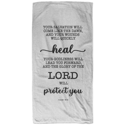 Typography Super Soft Absorbent Bath Towel 32x64 - Your Healing Shall Spring Forth Speedily ~Isaiah 58:8~