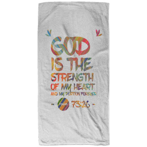 Bible Verses Bath Towel 32x64 - Psalm 73:26 (Design 7) - Meditate Healing Christian Store