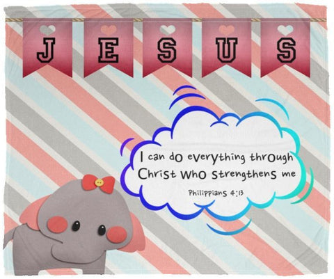 Hope Inspiring Kids Snuggly Blanket - Christ Strengthens Me ~Philippians 4:13~ (Design: Elephant)