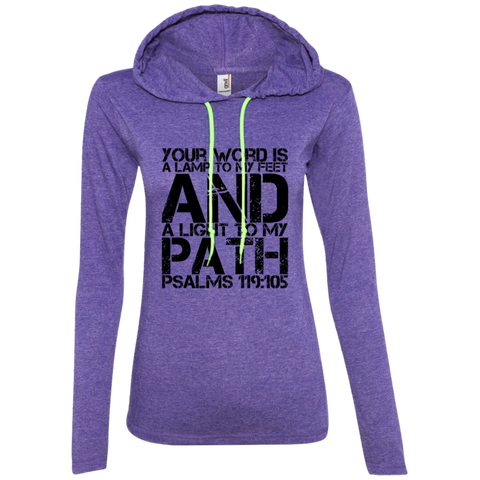 "Bible Verse Ladies' Long Sleeve T-Shirt Hoodie - ""Psalm 119:105"" Design 7 (Black Font) - Meditate Healing Christian Store"