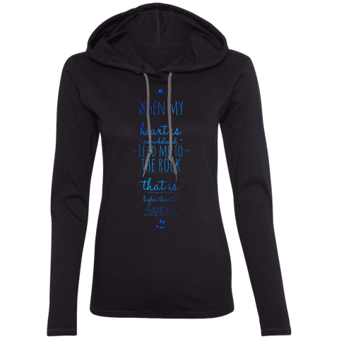 "Bible Verse Ladies' Long Sleeve T-Shirt Hoodie - ""Psalm 61:2"" Design 3 - Meditate Healing Christian Store"