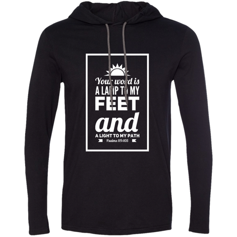 "Bible Verse Men Long Sleeve T-Shirt Hoodie - ""Psalm 119:105"" Design 2 (White Font) - Meditate Healing Christian Store"