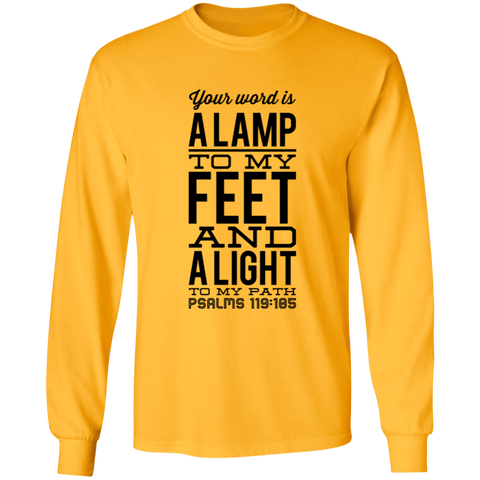 "Bible Verse Long Sleeve  Ultra Cotton T-Shirt - ""Psalm 119:105"" Design 4 (Black Font) - Meditate Healing Christian Store"