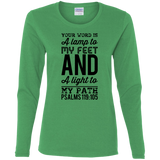 "Bible Verse Ladies' Cotton Long Sleeve T-Shirt - ""Psalm 119:105"" Design 3 (Black Font) - Meditate Healing Christian Store"
