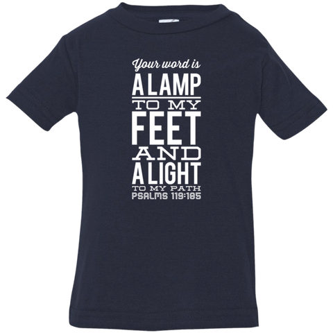 "Bible Verse Infant Jersey T-Shirt - ""Psalm 119:105"" Design 4 (White Font) - Meditate Healing Christian Store"