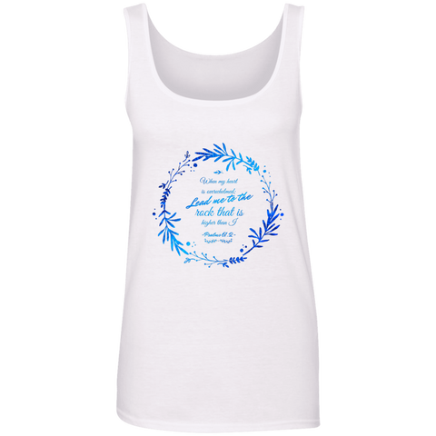 "Bible Verses Ladies' 100% Ringspun Cotton Tank Top - ""Psalm 61:2"" Design 19 - Meditate Healing Christian Store"