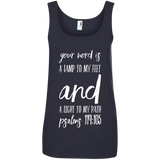 "Bible Verse Ladies' 100% Ringspun Cotton Tank Top - ""Psalm 119:105"" Design 9 (White Font) - Meditate Healing Christian Store"