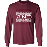 "Bible Verse Long Shirt Ultra Cotton T-Shirt - ""Psalm 119:105"" Design 11 (White Font) - Meditate Healing Christian Store"