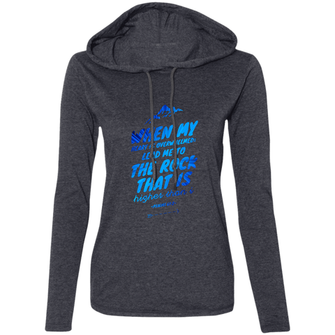 "Bible Verse Ladies' Long Sleeve T-Shirt Hoodie - ""Psalm 61:2"" Design 14 - Meditate Healing Christian Store"