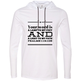 "Bible Verse Men Long Sleeve T-Shirt Hoodie - ""Psalm 119:105"" Design 10 (Black Font) - Meditate Healing Christian Store"