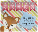 Hope Inspiring Kids Snuggly Blanket - Spirit Of God Lives In Me ~1 Corinthians 3:16~ (Design: Fox)