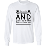 "Bible Verse Long Sleeve  Ultra Cotton T-Shirt - ""Psalm 119:105"" Design 14 (Black Font) - Meditate Healing Christian Store"
