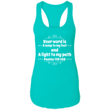 "Bible Verse Ladies Ideal Racerback Tank - ""Psalm 119:105"" Design 1 (White Font) - Meditate Healing Christian Store"