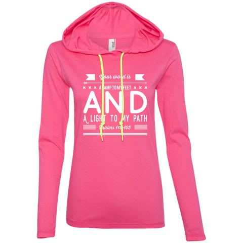 "Bible Verse Ladies' Long Sleeve T-Shirt Hoodie - ""Psalm 119:105"" Design 14 (White Font) - Meditate Healing Christian Store"