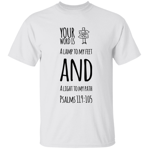 "Bible Verse Men 5.3 oz. T-Shirt - ""Psalm 119:105"" Design 19 (Black Font) - Meditate Healing Christian Store"