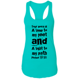 "Bible Verses Ladies Ideal Racerback Tank - ""Psalm 119:105"" Design 6 (Black Font) - Meditate Healing Christian Store"