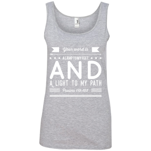 "Bible Verses Ladies' 100% Ringspun Cotton Tank Top - ""Psalm 119:105"" Design 14 (White Font) - Meditate Healing Christian Store"