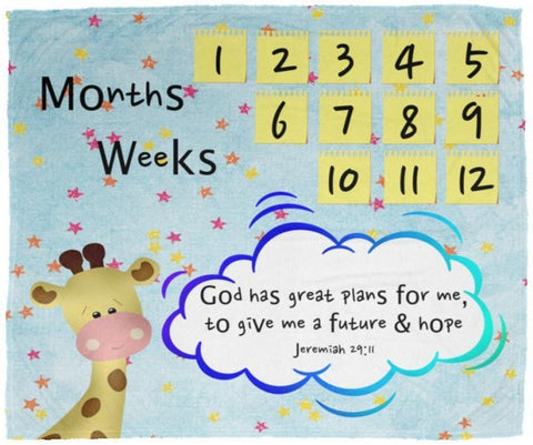Cozy Plush Baby Milestone Blanket - God Has Great Plans For Me ~Jeremiah 29:11~ (Design: Giraffe 2)