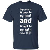 "Bible Verse Men 5.3 oz. T-Shirt - ""Psalm 119:105"" Design 6 (White Font) - Meditate Healing Christian Store"