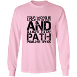 "Bible Verse Long Sleeve  Ultra Cotton T-Shirt - ""Psalm 119:105"" Design 7 (Black Font) - Meditate Healing Christian Store"