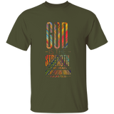 "Bible Verse Men 5.3 oz. T-Shirt - ""Psalm 73:26"" Design 19 - Meditate Healing Christian Store"