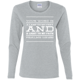 "Bible Verse Ladies' Cotton Long Sleeve T-Shirt - ""Psalm 119:105"" Design 11 (White Font) - Meditate Healing Christian Store"