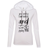 "Bible Verse Ladies' Long Sleeve T-Shirt Hoodie - ""Psalm 119:105"" Design 18 (Black Font) - Meditate Healing Christian Store"