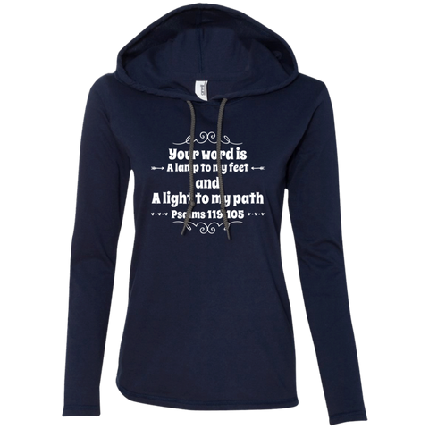 "Bible Verse Ladies' Long Sleeve T-Shirt Hoodie - ""Psalm 119:105"" Design 1 (White Font) - Meditate Healing Christian Store"