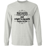 "Bible Verse Long Sleeve  Ultra Cotton T-Shirt - ""Psalm 119:105"" Design 1 (Black Font) - Meditate Healing Christian Store"