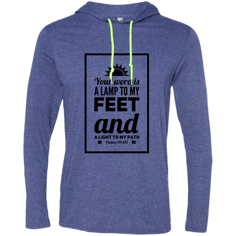 "Bible Verse Men Long Sleeve T-Shirt Hoodie - ""Psalm 119:105"" Design 2 (Black Font) - Meditate Healing Christian Store"