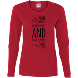 "Bible Verse Ladies' Cotton Long Sleeve T-Shirt - ""Psalm 119:105"" Design 20 (Black Font) - Meditate Healing Christian Store"