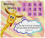 Cozy Plush Baby Milestone Blanket - Christ Strengthens Me ~Philippians 4:13~ (Design: Giraffe 1)