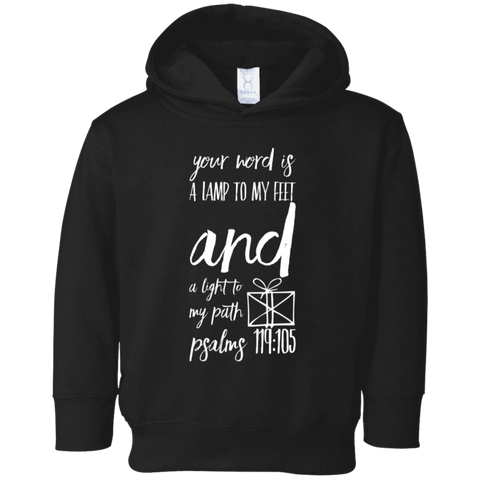 "Bible Verse Toddler Fleece Hoodie - ""Psalm 119:105"" Design 18 - Meditate Healing Christian Store"