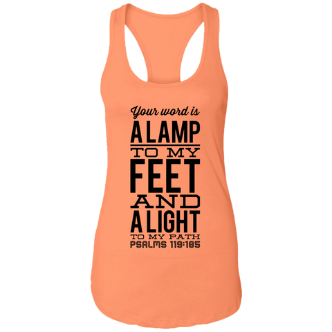 "Bible Verses Ladies Ideal Racerback Tank - ""Psalm 119:105"" Design 4 (Black Font) - Meditate Healing Christian Store"