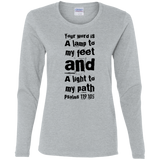 "Bible Verse Ladies' Cotton Long Sleeve T-Shirt - ""Psalm 119:105"" Design 6 (Black Font) - Meditate Healing Christian Store"